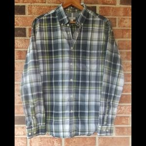 3/$20 Merona Blue Green Plaid Button Down Shirt L